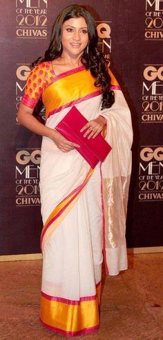 Konkona Sen in white bengali silk saree with yellow border