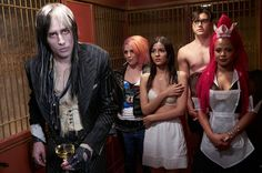 Reeve Carney (left) as Riff Raff, Victoria Justice (middle) as Janet, Ryan McCartan as Brad (second from right) and Christina Milian (right) as Magenta in FOX's reboot of 'The Rocky Horror Picture Show'