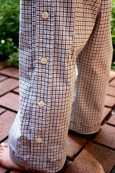 cute little boy pants from men's shirt upcycled