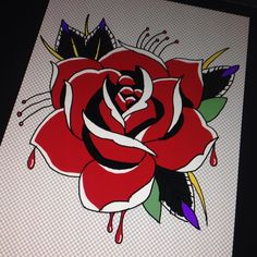 Procrastination at its best #newtattoo #tattoodesign #rose #blood #kneetattoo #photoshop #designing #art #drawing #girlswithtattoos by molchops