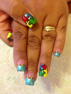 Autism Awareness nails by the talented Tonya Strange :-)