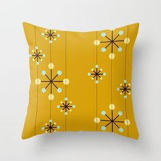 Retro Pattern 10 Throw Pillow cover by Ramon Martinez Jr - $20.00