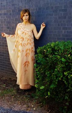 FEATHER one shoulder gown. grecian by AlexAndAftonVintedge on Etsy