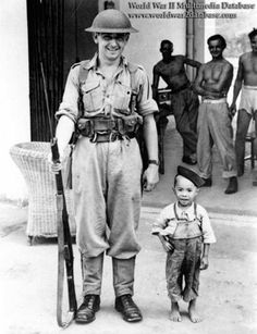 British soldier and Chinese boy in Hong Kong