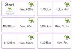 Lernstübchen: Domino Kilometer (mit Link) Bullet Journal, School, Link, Too Busy, Mathematics, Primary School, Education, Multiplication, Numeracy