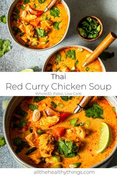Thai Red Curry Chicken Soup is perfect comfort food. Tender chicken, coconut milk, and red curry paste all come together to form a flavorful soup. Whole30 Soup Recipes, Healthy Soup Recipes, Red Curry Recipes, Paleo Soup, Thai Recipes, Coconut Curry Soup, Coconut Milk, Red Coconut Curry Recipe, Clean Eating Snacks