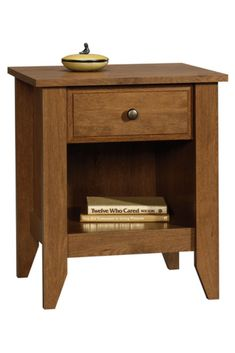 Sauder 410412 Shoal Creek Night Stand, Oiled Oak Finish -- You can find out more details at the link of the image. (This is an affiliate link) Rustic Nightstand, Rustic Bedroom Furniture, Nightstand Ideas, Bedroom Desk, Diy Bedroom, Master Bedroom, Old Chairs, Outdoor Chairs, Fashion Art