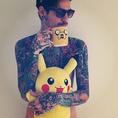 david rose pikachu adventure time full body tattoos
