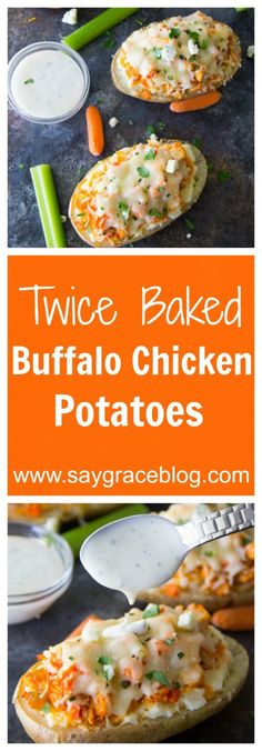 These creamy & cheesy twice baked buffalo chicken potatoes are sure to make for an easy weeknight meal. Duck Recipes, Side Dish Recipes, Veggie Recipes, Chicken Recipes, Cooking Recipes, Cookbook Recipes, Potato Recipes, Fall Recipes, Easy Weeknight Meals