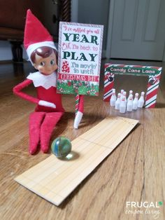 "Elf Bowling Game – ""I missed you all year, but I'm back to play and I'm moving in until Christmas Day!"" Hundreds of Elf on the Shelf Ideas including FREE elf printables on Frugal Coupon Living. Elf On The Self, The Elf, Christmas Holidays, Christmas Crafts, Grinch Christmas, Christmas Carol, Christmas Ideas, Awesome Elf On The Shelf Ideas, Elf Magic"