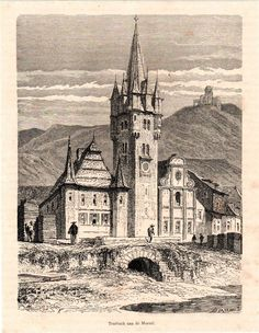 Antique print Traben-Trarbach Mosel Germany 1869 stampa antica holzstich