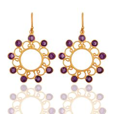 Designer 925 Sterling Silver Amethyst Gemstone Earring With 24K Gold Vermeil collection by dhruvanshcollection on Etsy https://www.etsy.com/listing/222082463/designer-925-sterling-silver-amethyst