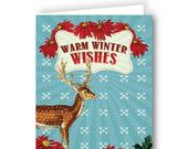 Holiday Greeting Cards, Warm Winter Wishes Holiday Greeting Cards, Wall Decals, Etsy Seller, Warm, Christmas Ornaments, Holiday Decor, Winter, Creative, Inspiration