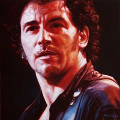 Bruce Springsteen - Because the Night, oil on canvas, 40x40cm, by Vincent Keeling