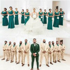 Tips For Planning The Perfect Wedding Day. A wedding should be a joyous occasion for everyone involved. The tips you are about to read are essential for planning and executing a wedding that is both Bridesmaids And Groomsmen, Wedding Bridesmaid Dresses, Wedding Suits, Wedding Attire, Wedding Parties, Tan Groomsmen Suits, Khaki Wedding, White Tuxedo Wedding, Green Wedding Suit