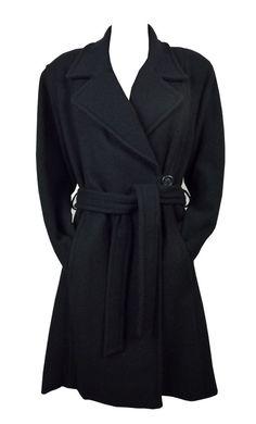 Manteau Femme Laine et Angora Noir Synonyme de George Rech Taille 42