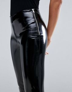Figure hugging black Patent Leather Pants with Side Zipper - Olivier Godat - pin-style Patent Leather Pants, Leather Pants Outfit, Black Leather Pants, Leather Jeans, Pvc Leggings, Vinyl Leggings, Leggings Are Not Pants, Tights, Pantalon Vinyl