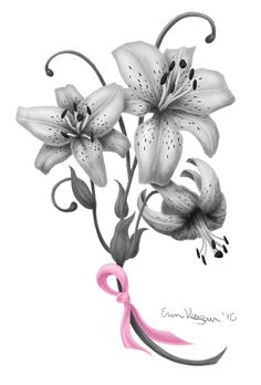 Lily Flowers n Breast Cancer Ribbon Tattoo Design | Tattoobite.com