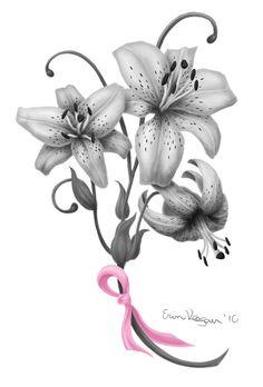 Lily Flowers n Breast Cancer Ribbon Tattoo Design | Tattoobite.com
