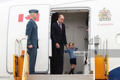 Prince William, Duke of Cambridge and Prince George of Cambridge arrive at Victoria Airport on September 24, 2016 in Victoria, Canada. Prince William, Duke of Cambridge, Catherine, Duchess of Cambridge, Prince George and Princess Charlotte are visiting Canada as part of an eight day visit to the country taking in areas such as Bella Bella, Whitehorse and Kelowna.