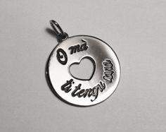 """Médaille """" O mà ti tengu cara """"  en Argent 925  Rhodié"""