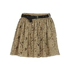 River Island Beige lace skirt (£10) ❤ liked on Polyvore featuring skirts, mini skirts, bottoms, saias, faldas, brown mini skirt, skinny belt, lace mini skirt, skinny brown belt and thin belts