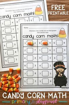 free printable candy corn math #candycornmath #candycorn #greaterorlessthan #halloweenmath #fallmath