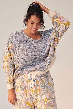 Flora Printed Joggers   Anthropologie Denim Romper, Striped Shirt Dress, Plus Size Sale, Plus Size Tops, Lace Tops, Floral Tops, Flora Print, Knit Blazer, Pull On Pants