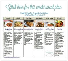 Weight Watcher Friendly Meal Plan #22 | Free printable, Meals and ...
