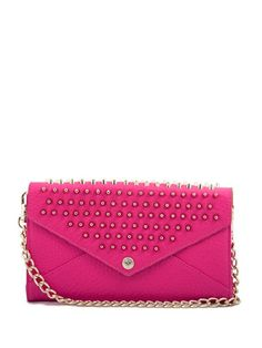 Rebecca Minkoff Studded Wallet on a Chain- Bright Pink