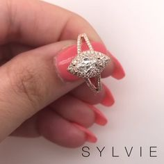 Sylvie Collection marquise diamond engagement ring with halo Marquise-Diamant-Verlobungsring a. Split Shank Engagement Rings, Engagement Ring Shapes, Dream Engagement Rings, Rose Gold Engagement Ring, Designer Engagement Rings, Marquise Diamond, Ring Verlobung, Ring Earrings, Beautiful Rings