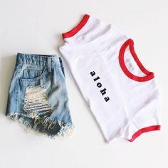 Aloha Cropped Tee + Distressed Denim Shorts