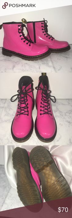 NWOT - Dr Martens Junior Delaney Patent Air Wair NWOT -- Dr Martens Junior Delaney Pink Patent Air Wair Boots.  Pink Patent Leather, 8-eye lace up with side zipper for easy-on, easy-off. Sturdy, flexible sole with soft durable uppers. Brand new, never worn.                                          ****Please see 4th picture -- there is one small mark on the right side of the shoe Dr Martens Shoes