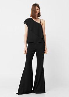 Асимметричная блузка с воланом | MANGO МАНГО