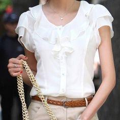 2013 New Fashion Ladies' Formal Casual Bowtie OL Shirt Short Sleeve Vintage Shirts Tops Chiffon Blouse 2 Color Free Shipping