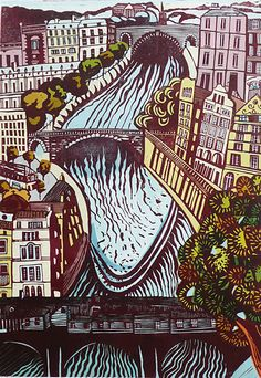 """""""River Running Through It relief print of Bath by Liz Somerville. Graphic Design Illustration, Illustration Art, Linocut Prints, Art Prints, High School Art Projects, 8th Grade Art, Wood Engraving, Art Lessons, Illustrations Posters"""