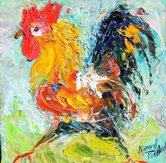 Etsy- Karen Tarlton. Karen's Fine Art. Custom work. Original oil painting Rooster on the Run Abstract - 8x8 - palette - impasto - $55