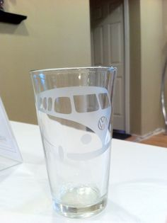 Vw Vw Bus Etched glass  Bus Hand crafted gift beer by Otrengraving, $28.00