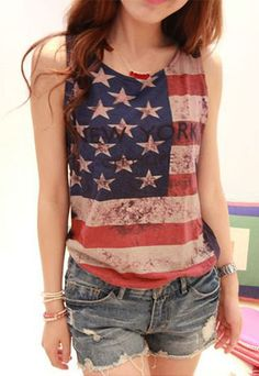 Price:32 USD  Fashion Cool Loose Fitting American Flag Fringed Vest