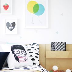 Modern Neutral Girls Room featuring geometric wall decals and colorful, whimsical accents - Project Junior