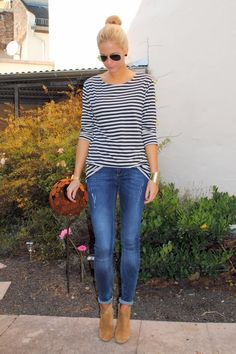 skinny jeans cuffed w/ booties  Causal yet cute
