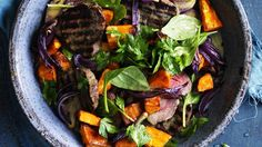 Steak makeover: Eye fillet with warm sweet potato and spinach salad.