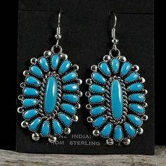 Lorraine Waatsa Turquoise Cluster Earrings Native American Sterling Silver   eBay $396.00 Buy it Now