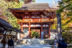 This is the entrance gate to the Murō-ji temple (室生寺) in Rural Uda, Nara! Its a bit out of the way, but the autumn colors are very beautiful indeed and a mountain monk plays the shakuhachi during the momiji season!