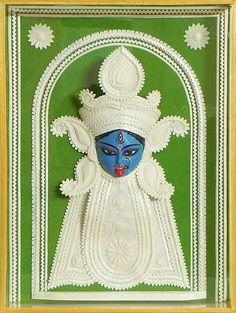 Face of Shyama Kali - Wall Hanging - Sholapith Statue