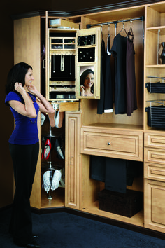 """Rev-A-Shelf introduces its womens pivoting Closet Armoire. Designed for use alone or in conjunction with the Storage Armoire, this product fits into an 8"""" opening between two 16"""" depth closet panels, simply add a panel front and you have the must have in closet organization."""