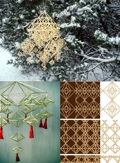 collage Arts And Crafts, Diy Crafts, Mobiles, Sculptures, Christmas Decorations, Collage, Studio, Projects, Christmas Decor
