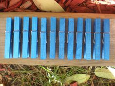 Blue metallic painted clothespins set of 12 by SymataDesigns, $10.00 Clothespins, Metallic, Trending Outfits, Unique Jewelry, Handmade Gifts, Blue, Vintage, Etsy, Clothes Pegs