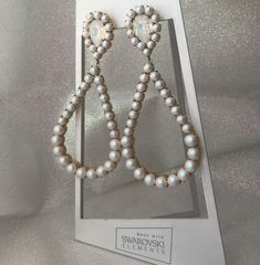 Glam earrings created with Swarovski pearls and crystals by TRIA ALFA Bride Earrings, Swarovski Pearls, Jewelry Party, Wedding Hairstyles, Pearl Necklace, Crystals, Hair Styles, Inspiration, String Of Pearls