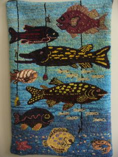 Fishing  hooked rug by Devon Query
